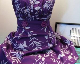 Vintage Woman Cotton Summer Dress Purple Cotton Summer Dress Short Dress Out Of Shoulder Dress Italian Dress