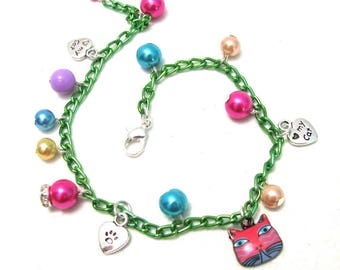 Handmade bracelet/Charm bracelet/Cat charm/harajuku jewelry/kawaii jewelry/fairy kei bracelet/cat charm bracelet/harajuku/gift for girl