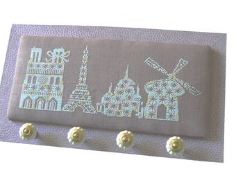 Monuments of Paris in purple cross stitch Embroidery