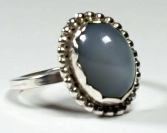 Beautiful, big grey moonstone sterling silver cocktail/ statement ring