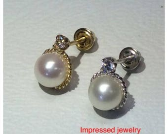 14K Yellow/White REAL Gold Fresh Water White Pearl with stone CZ Screw Back Stud Earring
