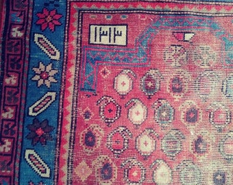 """Pre 1900 Persian rug. Antique Caucasian Kazak. 2'10""""X3'9"""". Very old and worn but fully intact. Rust red , blue, olive. Collectable."""