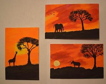 Serengeti Sunset Painted on 4 X 6 Canvas Panels Set of 3