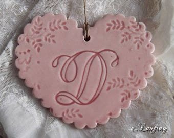 Large ceramic heart, Scalloped edges, pink pastel, large vintage initial ' of