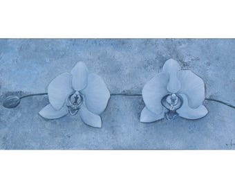 "Original painting ""Winter Orchid"", flower in shades of blue, Acrylic paint"