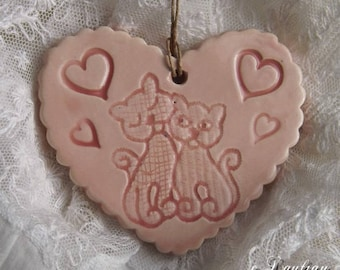 Heart romantic earthenware, love cats and hearts, pastel pink