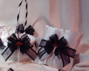 Black White & Red flower girl basket ring bearer pillow