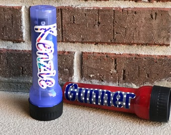 Kids personalized custom flashlight for camping, beach trips, trick or treating, of just fun