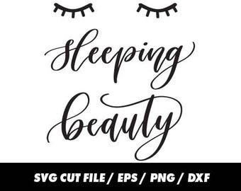 Sleeping beauty SVG, DXF, EPS, png Files for Cutting Machines Cameo or Cricut - Eyes Svg, Face Svg, Cute Svg Sleep svg Eye lashes Svg