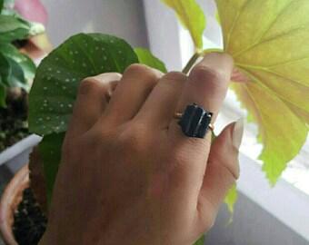 Black Tourmaline Copper Electroformed Ring/Black Tourmaline/Electroformed Jewelry/Raw Tourmaline/Healing Stone Jewelry