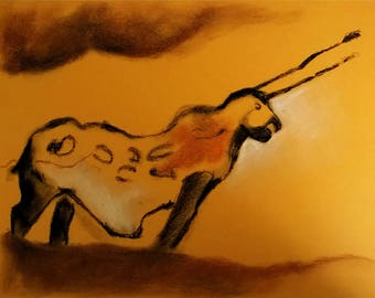 Reproduction of a wall the Lascaux cave painting