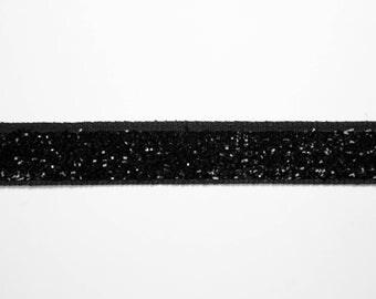 Ribbon stripe velvet dark shiny 1 cm x 1 meter