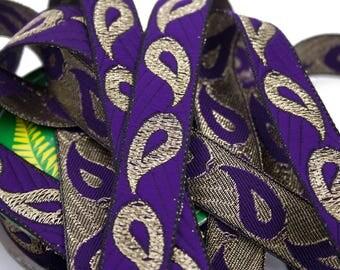 Purple Black 2.1 cm x 1 m gold Jacquard Ribbon