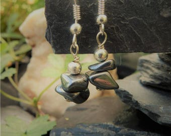 "Earrings ""Zoé"" hematite stones"