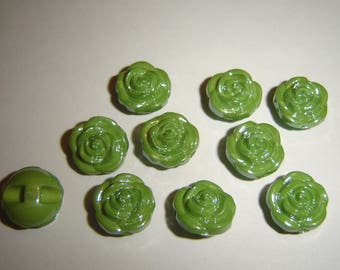 GLASS IRIDESCENT buttons 5 / / 13 mm / / Green