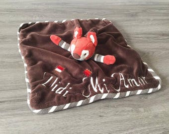 Plush squirrel square 35 cm with embroidered name