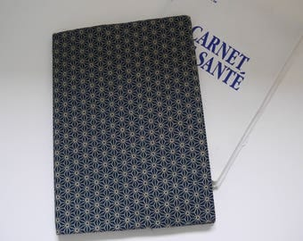 Protects notebook Japanese fabric health Prussian blue and ecru pattern asanoha