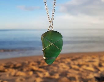 Green Sea Glass Necklace, Sea Glass Pendant, Seaglass Jewellery