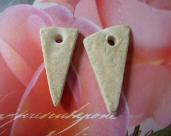 ceramic beads form triangle homemade PL 040 handmade set of 2 natural color