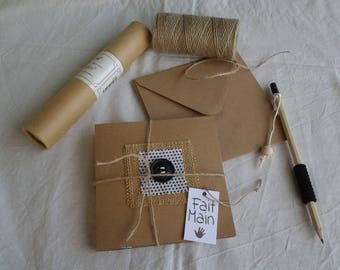 set of four cards and kraft paper envelopes