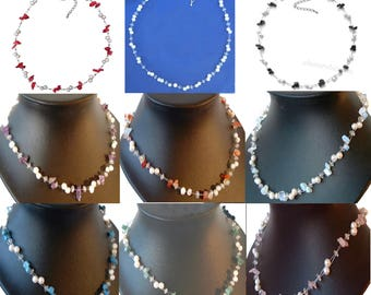 Pearl and gemstone necklace, choice of gemstone inc red coral and pearl necklace onyx and pearl necklace amethyst + pearl moonstone + pearl