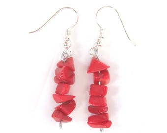 Red coral earrings, shell earrings