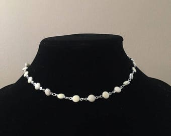 white layering necklace