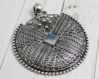 Large pendant etsy filigree pendant bohemian pendant medallion pendant silver pendants large pendants metal aloadofball Gallery