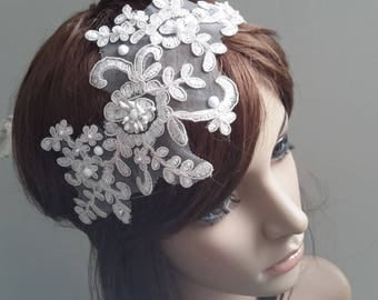 Re embroidered lace adjustable headband