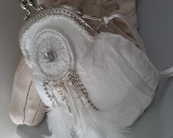 retro white rhinestone dream catcher pouch