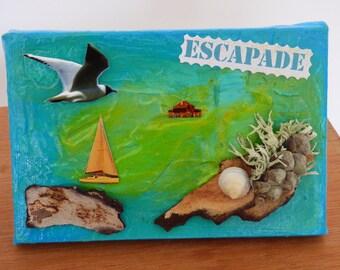 mixed media seascape painting, table decor, green and blue tones wall decor, Navy, drift wood.