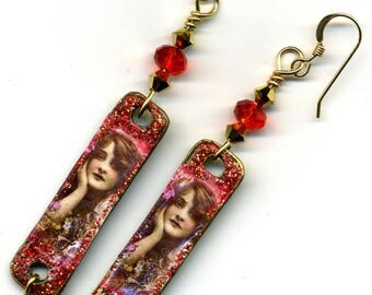 """Le Boudoir red and gold"" 14KT gold plated earrings"
