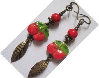 "BRONZE Metal earrings ""Cherry season!"""
