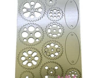 Set of 12 gears embellishments scrapbooking embellishment metal soft *.