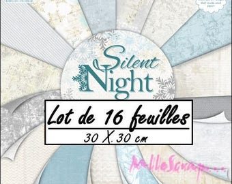 "Set of 16 sheets 30.5 X 30.5 cm ""SILENT NIGHT"" background papers (ref.110). *."