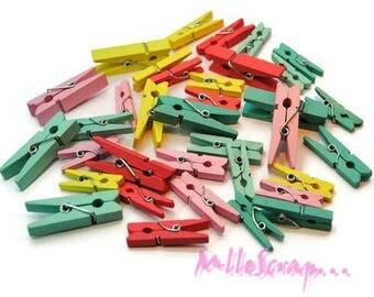 Set of 35 mini clips decorative multicolored Belle & Boo scrapbooking (ref.110) *.