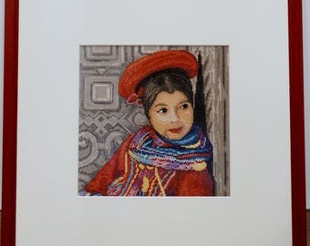 Embroidery picture girl from Peru