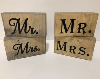 "Wood Sign, ""Mr."" and ""Mrs."" Set"
