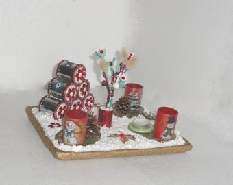Christmas, candle, made of reclaimed FIR decoration