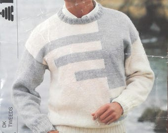 Mens Sweaters Vintage Pattern by Patons Knit sweater pattern Knitting pattern Mens knitting pattern