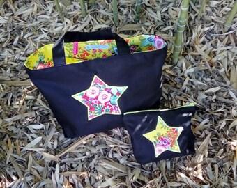 floral handbag, Tote, and black cotton.