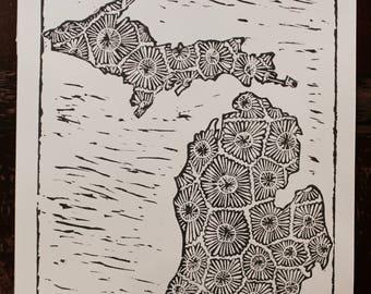 Michigan Linocut Print 9x10 Handprinted