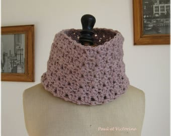 Pink beige Snood crocheted