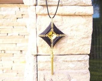 Square swarovski crystal beads woven pendant