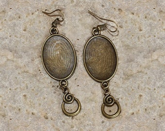 Earrings bronze support 18 X 25 mm oval cabochon