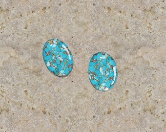2 cabochons 10 X 14 mm resin mohave turquoise print