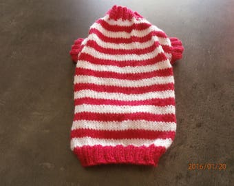 Pink and white striped dog coat