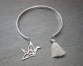 Silver Bangle - grey tassel and origami crane
