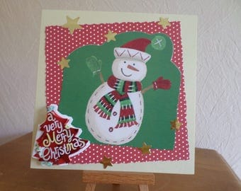 greeting card with snowman and Red 3D tree