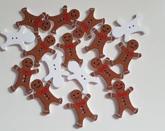 Set of 10 wooden gingerbread buttons